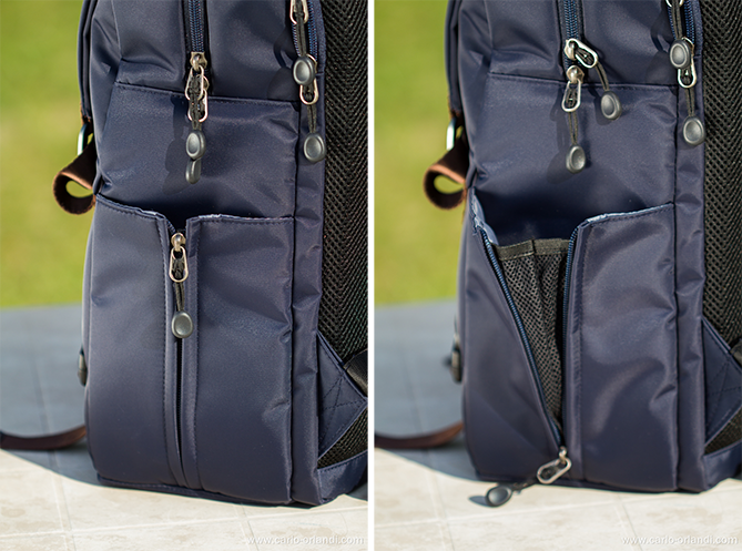 La tasca laterale per oggetti come ombrelli o bottiglie d'acqua.