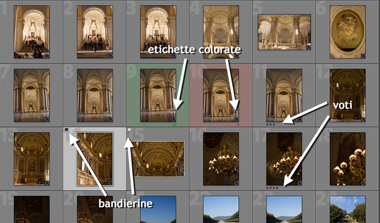 Etichette per selezionare le foto