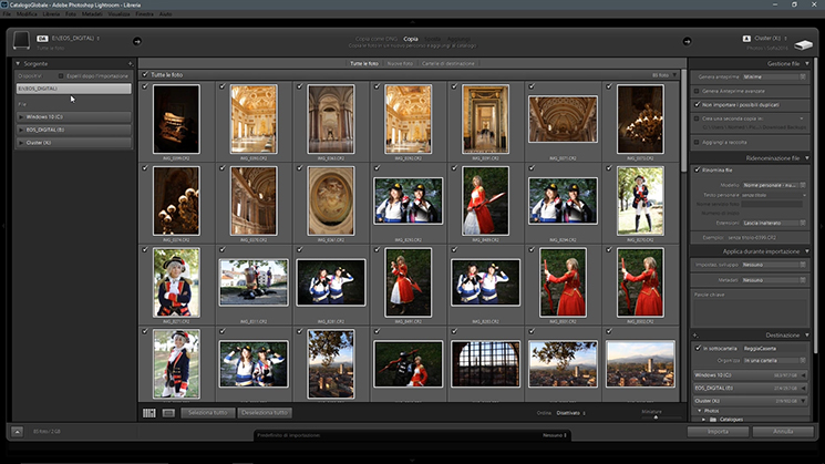 La finestra di importazione su Lightroom